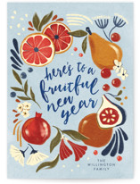 This is a blue christmas postcard by Vivian Yiwing called Fruitful year with standard printing on signature in postcard.