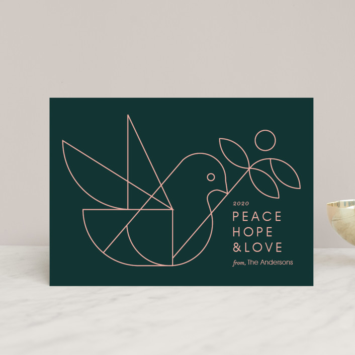 """""""Geometric Dove"""" - Modern Holiday Postcards in Evergreen by Heather Francisco."""