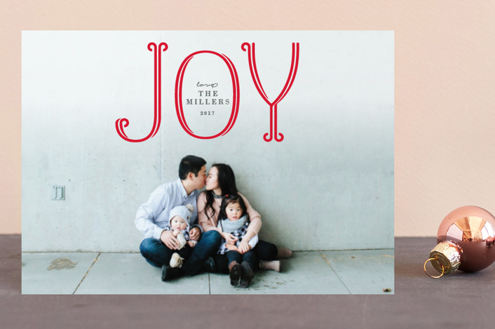 """""""Flourished Joy"""" - Holiday Postcards in Candy Cane by Michelle Poe."""