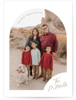This is a white christmas postcard by Jessica Williams called Simply Arched with standard printing on signature in postcard.