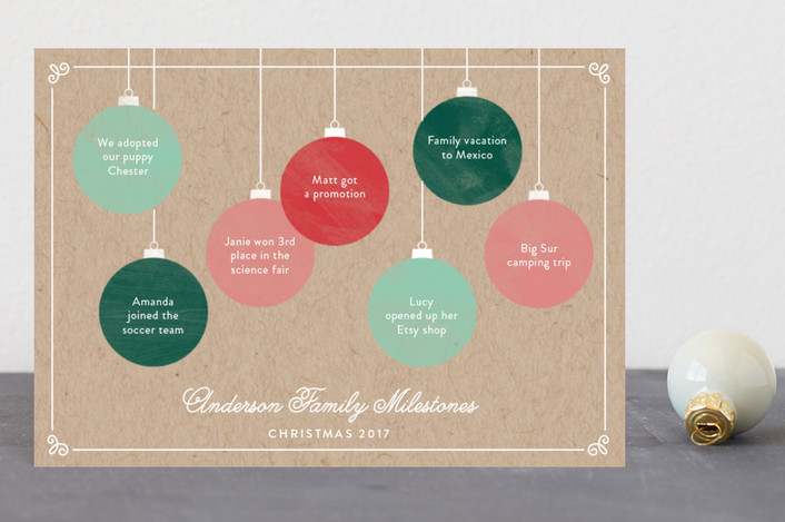 """Milestone Ornaments"" - Holiday Postcards in Candy by Becca Thongkham."