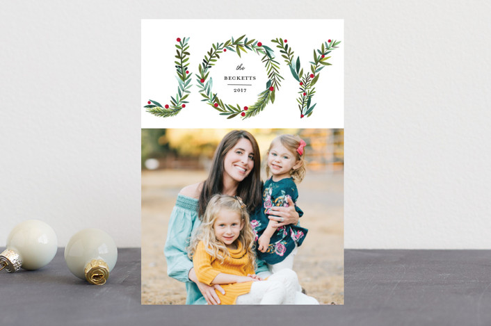 """Greenery Joy"" - Holiday Postcards in Wreath by Petra Kern."