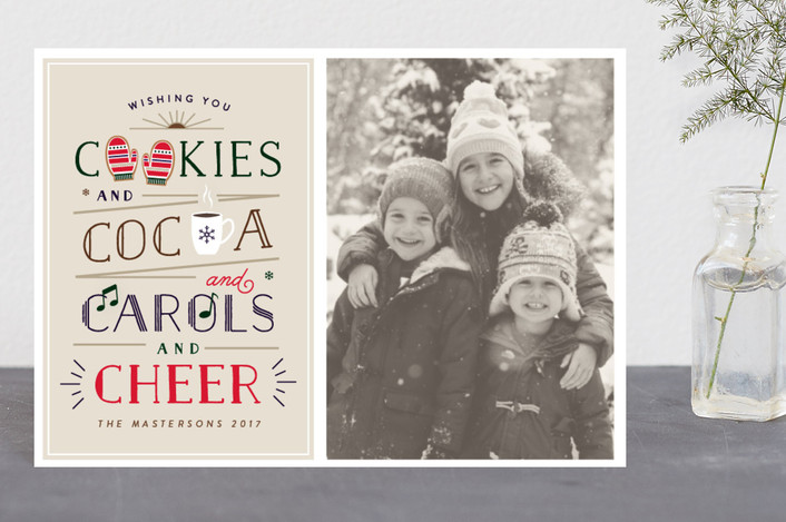"""C Yourself in Christmas"" - Vintage Holiday Postcards in Biscuit by Little Words Design."