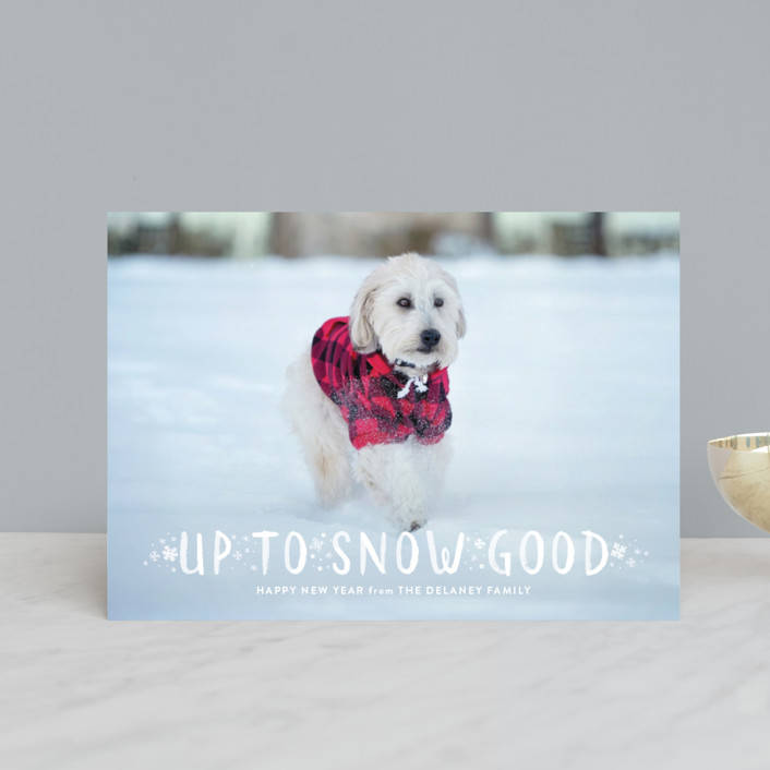 """Snow Good"" - Holiday Postcards in Cranberry by Sarah Brown."