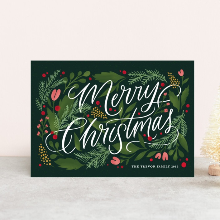 """Floral Embellishment"" - Holiday Postcards in Evergreen by Kristen Smith."
