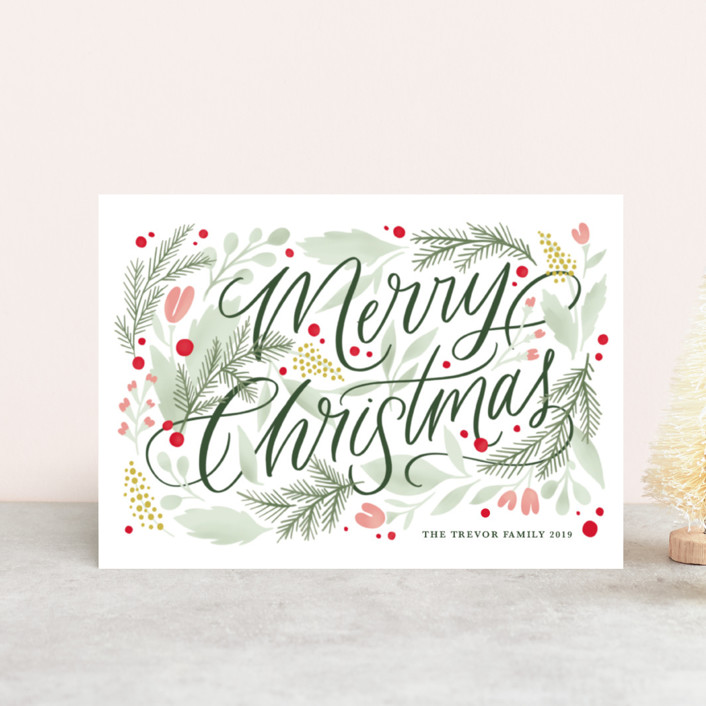 """""""Floral Embellishment"""" - Holiday Postcards in Moss by Kristen Smith."""