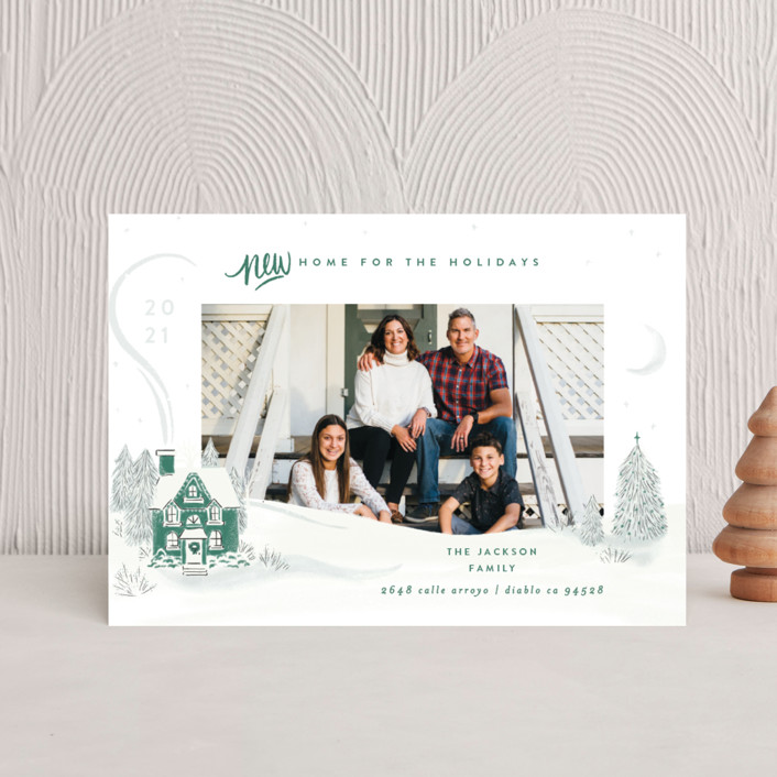 """""""Vintage Cozy Home"""" - Bohemian Holiday Postcards in Pine by Shiny Penny Studio."""