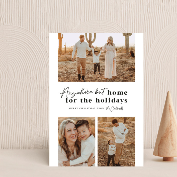 """""""Anywhere But Home"""" - Holiday Postcards in Coal by Melissa Egan of Pistols."""