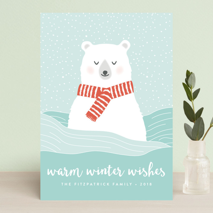 """Warm Winter Wishes"" - Holiday Postcards in Frosty by Kampai Designs."