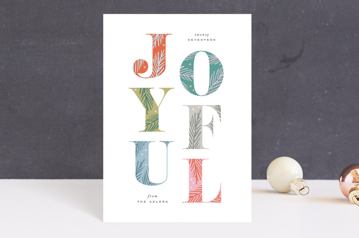 """""""Joyfully Decorated"""" - Holiday Postcards in Creamsicle by Hooray Creative."""