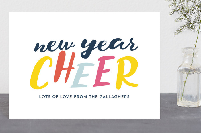 """""""Multi Cheer"""" - Modern Holiday Postcards in Cheery Yellow by Erika Firm."""