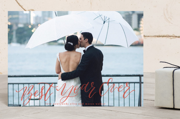 """Married and Bright"" - Holiday Postcards in Persimmon by Grace Kreinbrink."