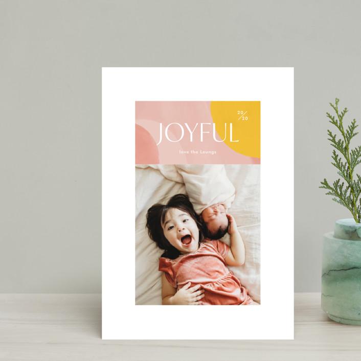 """Artsy Joyful"" - Modern Holiday Postcards in Candy by Monika Drachal."