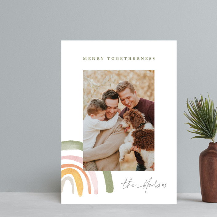 """Rainbow Christmas"" - Modern Holiday Postcards in Sage by Monika Drachal."