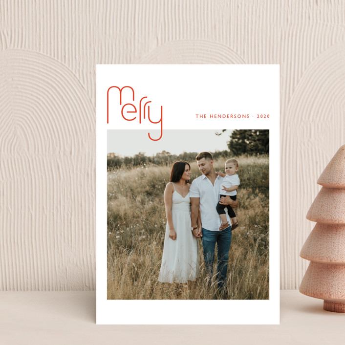 """""""Geo Merry"""" - Modern Holiday Postcards in Candied Orange by Magdalena Earnest."""