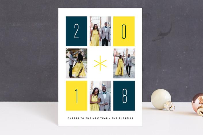 """Retro Rectangles"" - Modern Holiday Postcards in Sunshine by Erica Krystek."