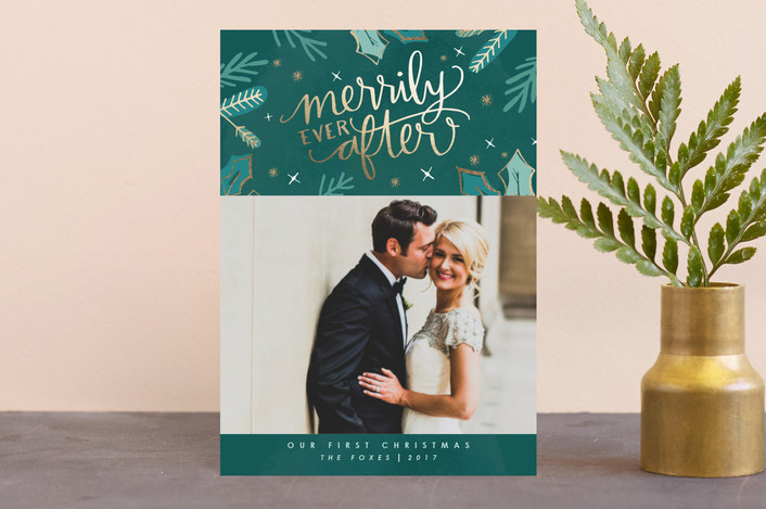 """Merrily Ever After"" - Holiday Postcards in Evergreen by Makewells."