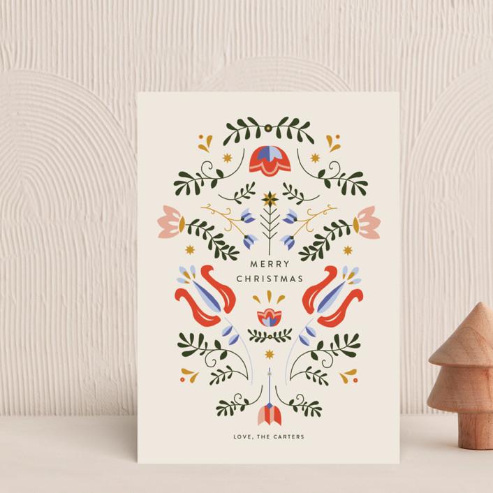 """Scandinavian Folk Card"" - Vintage Holiday Postcards in Cream by Molly Mortensen."
