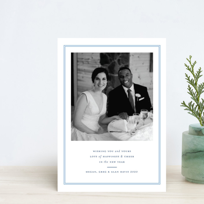 """""""Pure Joy"""" - Holiday Postcards in French Blue by Toast & Laurel."""