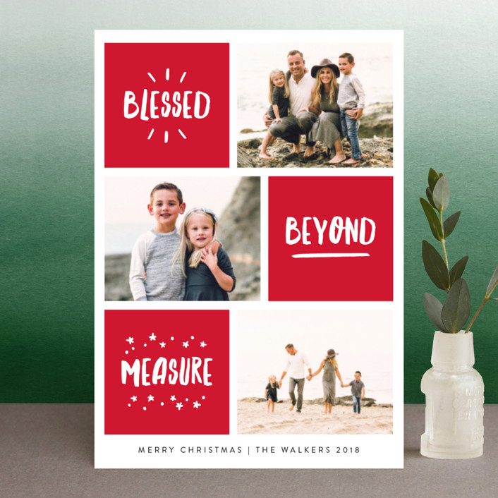 """Blessed Bliss"" - Modern Holiday Postcards in Holly by Kelly Nasuta."