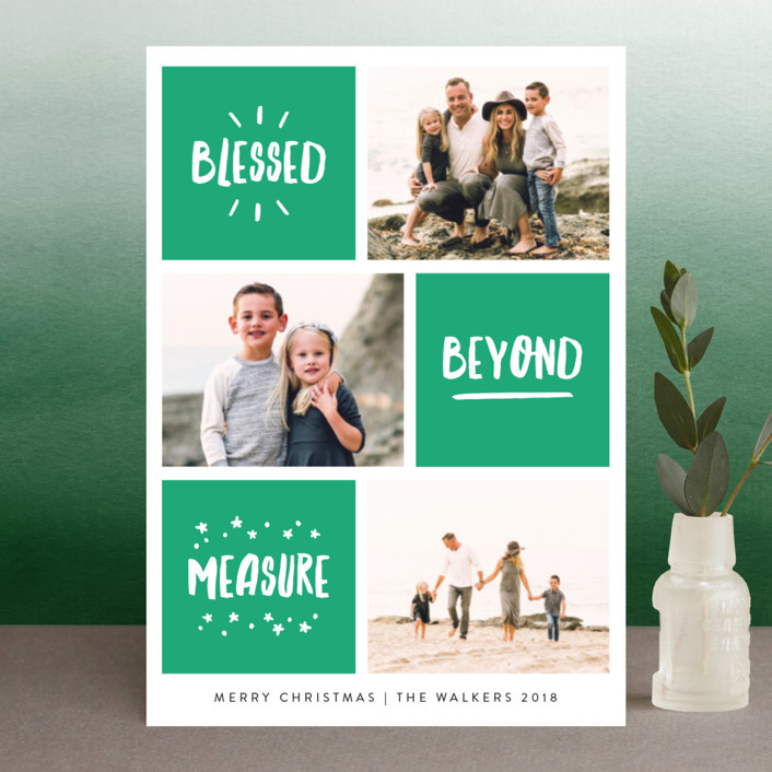 """""""Blessed Bliss"""" - Modern Holiday Postcards in Jade by Kelly Nasuta."""
