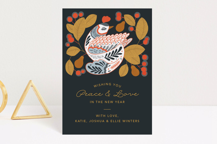 """Partridge in a Pear Tree"" - Holiday Postcards in Forest by Paper Raven Co.."