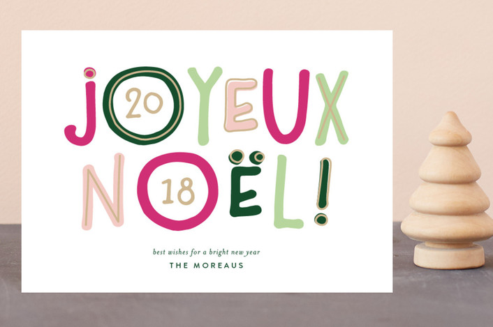 """Bright Noel"" - Modern Holiday Postcards in Mint by Jessica Maslyn."