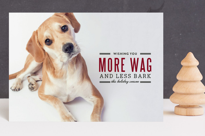 """""""More Wag, Less Bark"""" - Funny Holiday Postcards in Crimson by Lauren Hampton."""