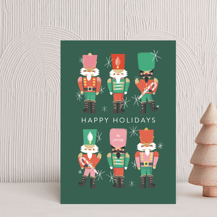"""""""Nutcrackers"""" - Vintage Holiday Postcards in Evergreen by Itsy Belle Studio."""