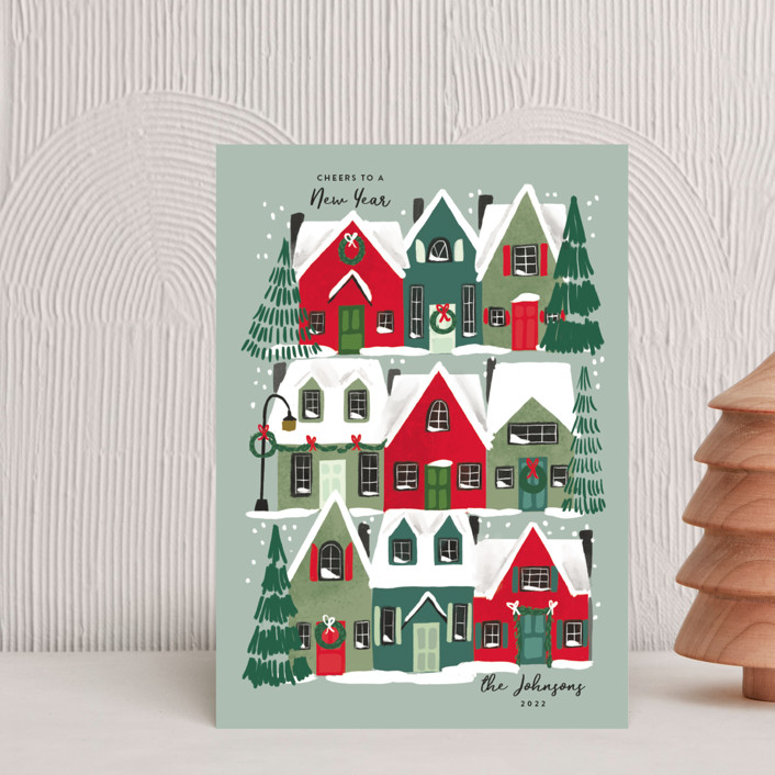 """""""Holiday Home"""" - Holiday Postcards in Juniper by Rebecca Durflinger."""
