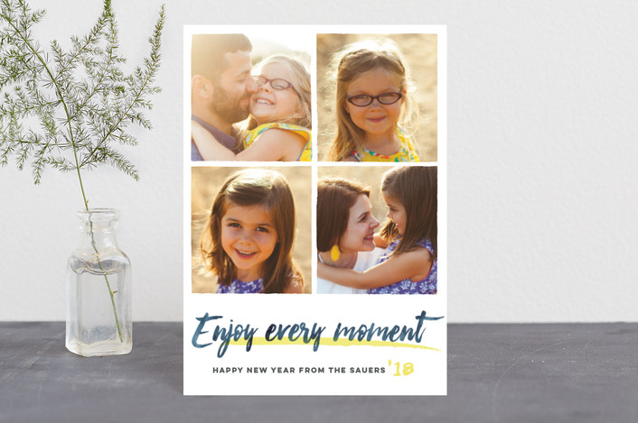 """""""Enjoy Every Moment"""" - Holiday Postcards in yellow by Jessie Steury."""