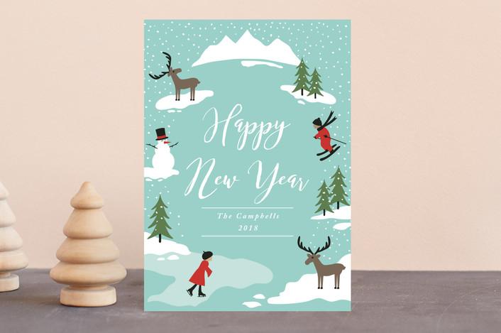 """Winter Wonderland"" - Holiday Postcards in Sky by Kampai Designs."