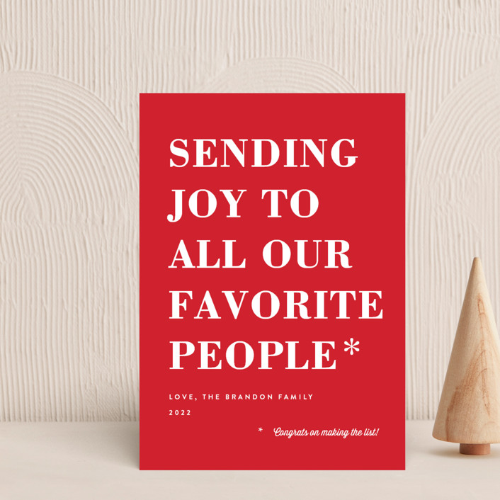 """You Made the List"" - Funny Holiday Postcards in Candy Apple by Amy Payne."