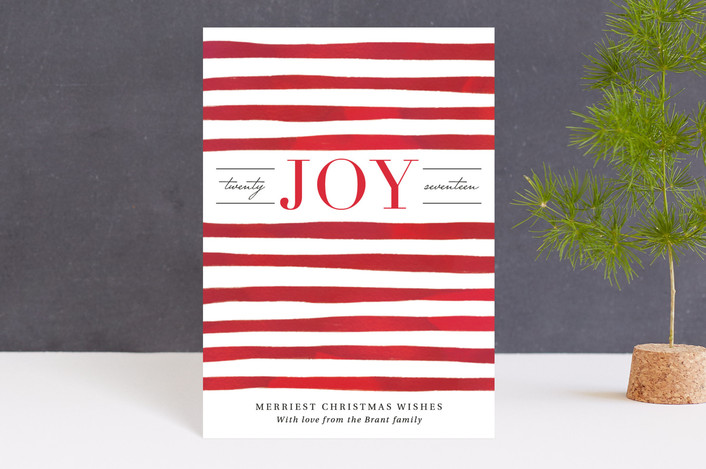 """Painted Stripes"" - Holiday Postcards in Berry by Kelly Nasuta."