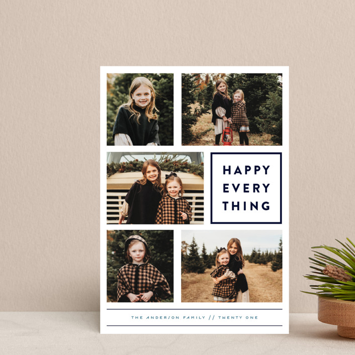 """Every Happy Thing"" - Holiday Postcards in Marine by Michelle Poe."