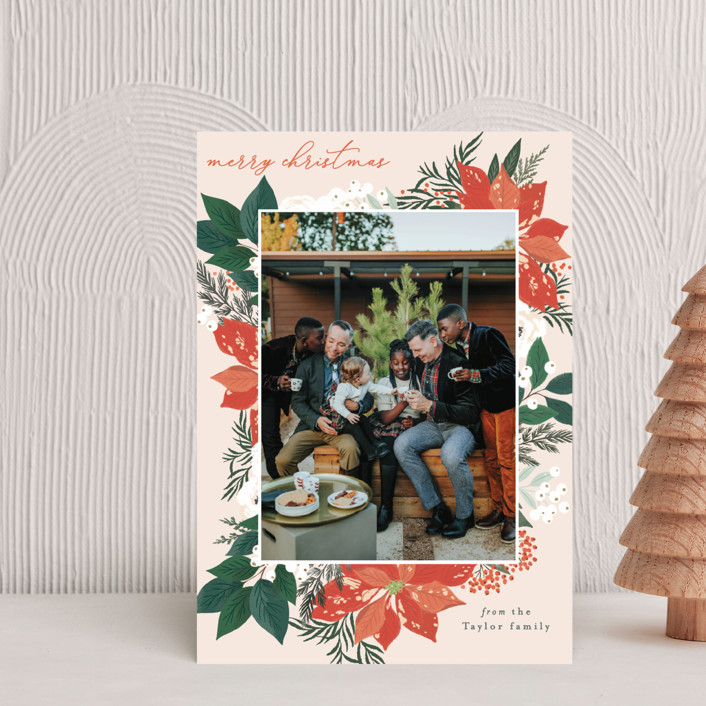 """""""Poinsettia Bouquet"""" - Holiday Postcards in Pumpkin by Alethea and Ruth."""