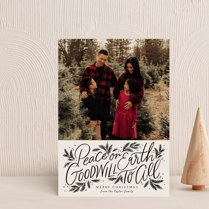 """""""Peace Goodwill"""" - Bohemian Holiday Postcards in Noir by Alethea and Ruth."""