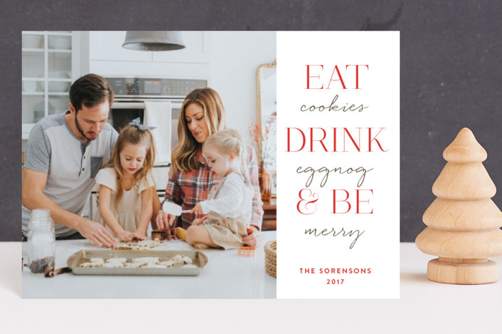 """Eat Drink & Be"" - Holiday Postcards in Crimson by Design Lotus."