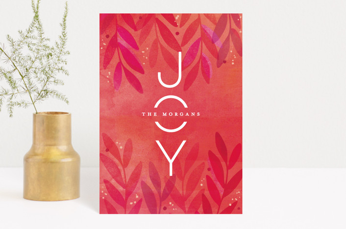 """""""Festive Flora"""" - Bohemian Holiday Postcards in Berry by Hooray Creative."""