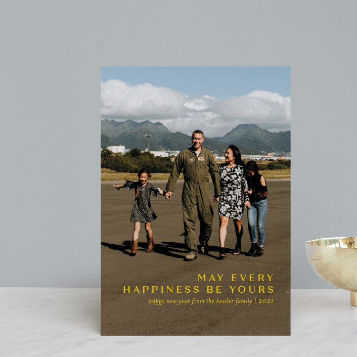 """Every Happiness"" - Holiday Postcards in Canary by Jessica Williams."