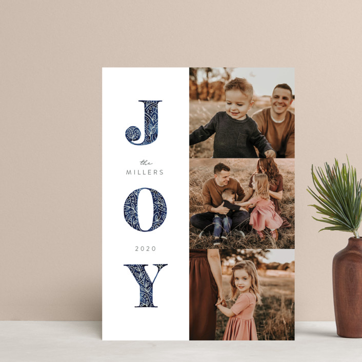 """""""Decorated Joy"""" - Holiday Postcards in Navy by JeAnna Casper."""