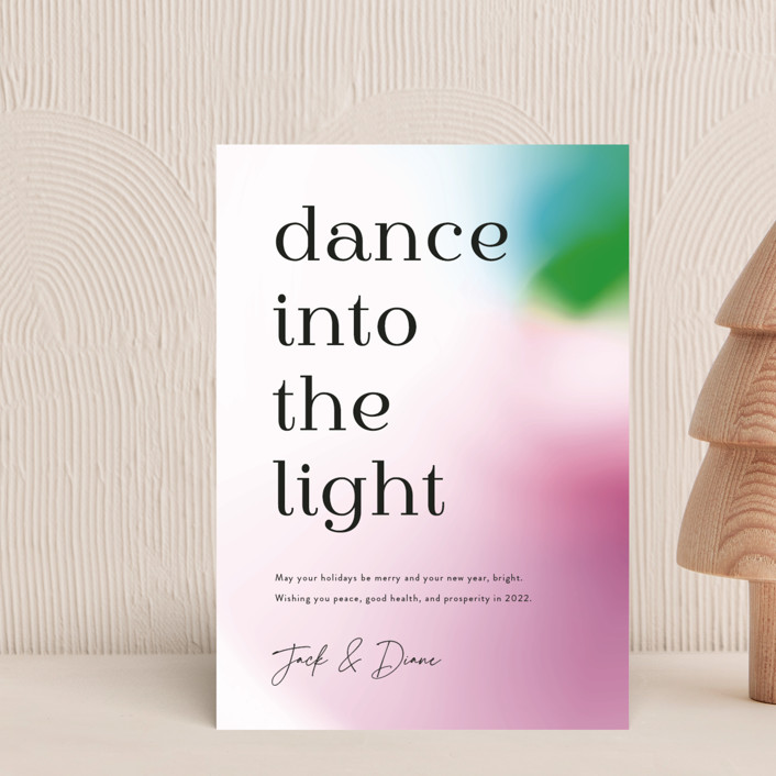 """""""dance into the light"""" - Modern Holiday Postcards in Optimism by Kamala Nahas."""