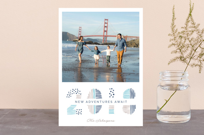 """Date Doodle"" - Modern Holiday Postcards in Denim by Pixel and Hank."