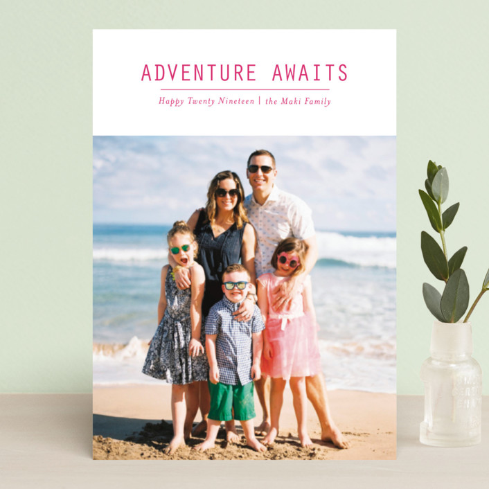 """""""Adventure Awaits"""" - Holiday Postcards in Berry by Loren Willis."""
