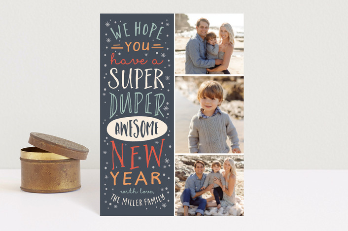 """""""Super Duper"""" - Holiday Postcards in Nickel by Amy Payne."""