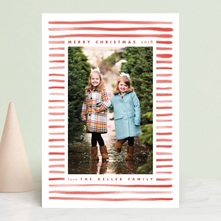 """Candy Stripe"" - Holiday Postcards in Candy Red by Leah Bisch."