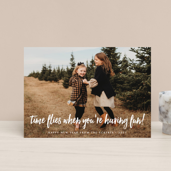 """time flies when you're having fun"" - Funny Holiday Postcards in Powder by Sara Hicks Malone."