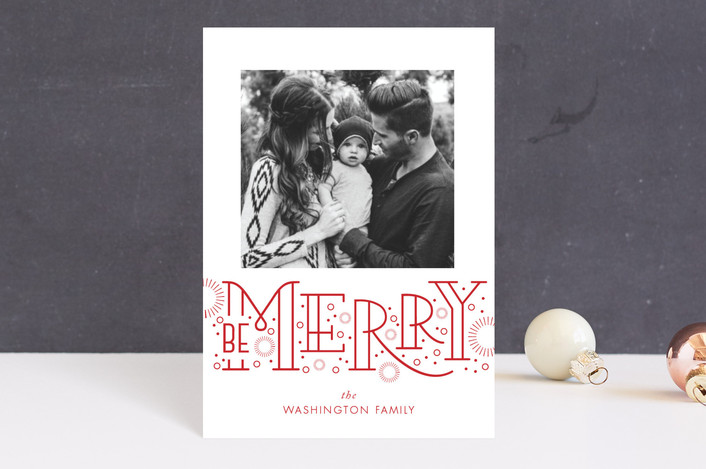 """""""Merry Bursts"""" - Modern Holiday Postcards in Poinsettia by SunnyJuly."""