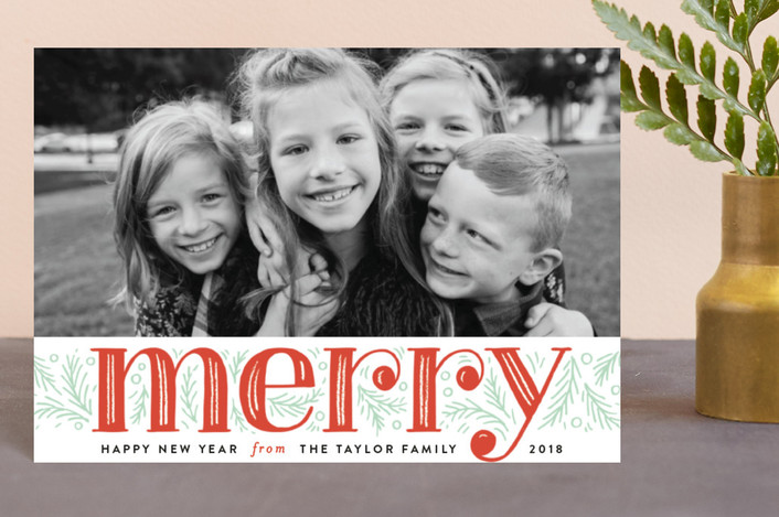 """Merry Pine Branches"" - Holiday Postcards in Holly Berry by Alethea and Ruth."