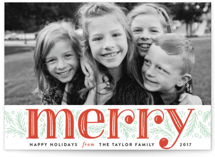 Merry Pine Branches Holiday Postcards